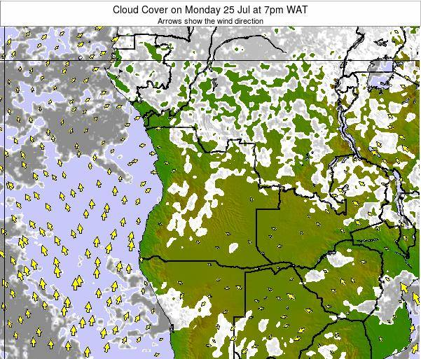 Angola Cloud Cover on Monday 27 May at 7am WAT