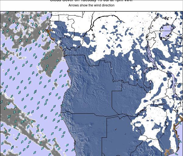 Angola Cloud Cover on Saturday 25 May at 7pm WAT
