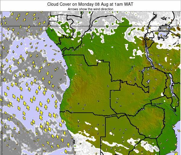 Angola Cloud Cover on Friday 24 May at 7pm WAT