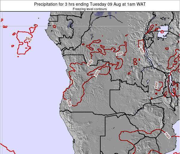 Angola Precipitation for 3 hrs ending Wednesday 17 Feb at 1am WAT