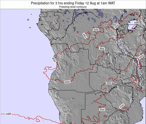Angola Precipitation for 3 hrs ending Saturday 20 Jan at 7pm WAT map