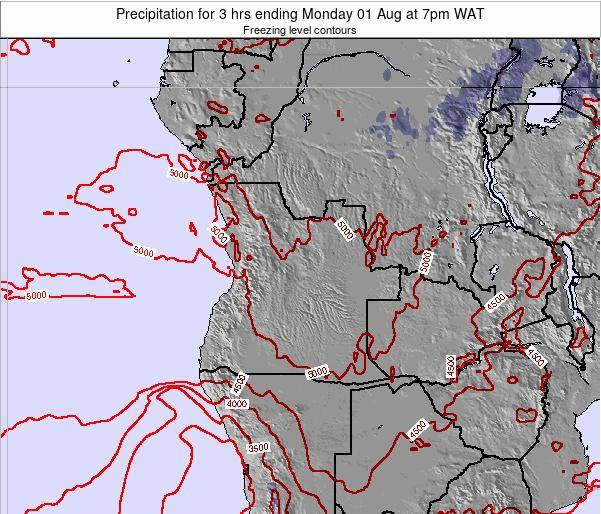 Angola Precipitation for 3 hrs ending Thursday 21 Dec at 1pm WAT map