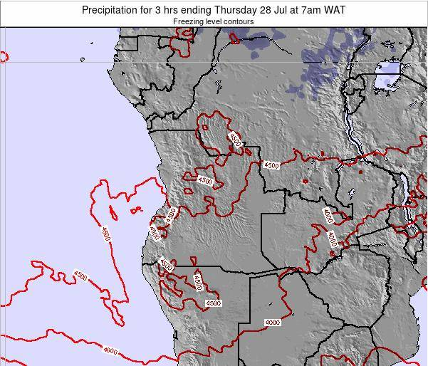 Angola Precipitation for 3 hrs ending Wednesday 24 Jan at 7am WAT map