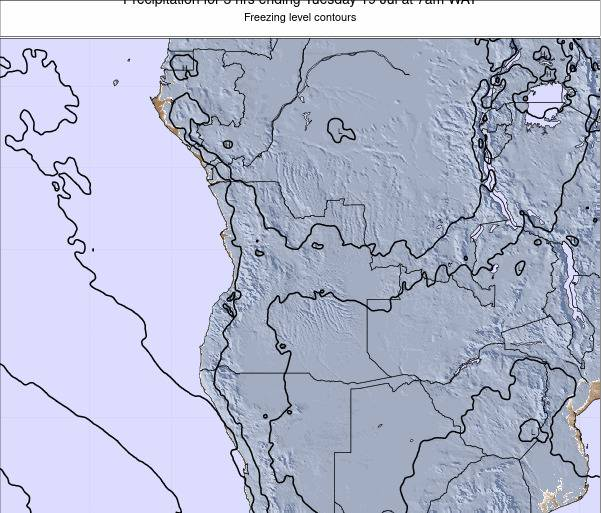Angola Precipitation for 3 hrs ending Tuesday 05 Aug at 7pm WAT