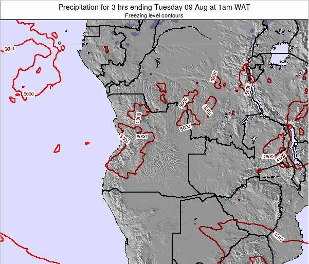 Angola Precipitation for 3 hrs ending Monday 28 Apr at 7am WAT