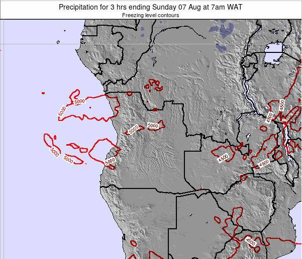 Angola Precipitation for 3 hrs ending Monday 23 Jul at 1am WAT map