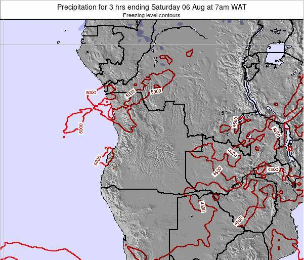 Angola Precipitation for 3 hrs ending Tuesday 24 Jul at 1pm WAT map