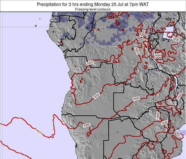 Angola Precipitation for 3 hrs ending Sunday 25 Mar at 1pm WAT map