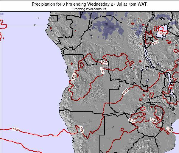 Angola Precipitation for 3 hrs ending Sunday 25 Mar at 7am WAT map