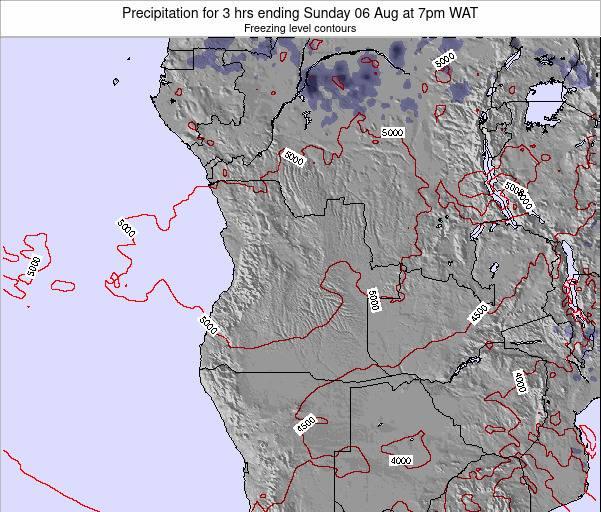 Angola Precipitation for 3 hrs ending Thursday 22 Feb at 1am WAT map
