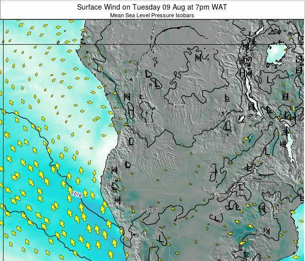 Angola Surface Wind on Tuesday 28 May at 1am WAT map