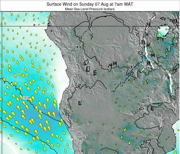 Angola Surface Wind on Friday 24 May at 7am WAT map