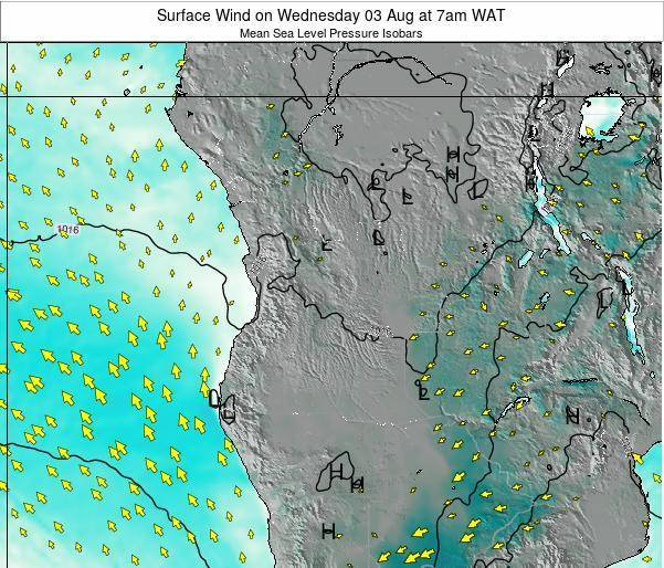 Angola Surface Wind on Sunday 19 May at 7pm WAT map