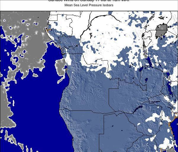 Angola Surface Wind on Wednesday 27 Jul at 1am WAT
