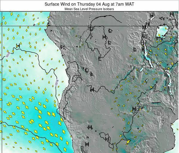 Angola Surface Wind on Wednesday 25 Jan at 1am WAT