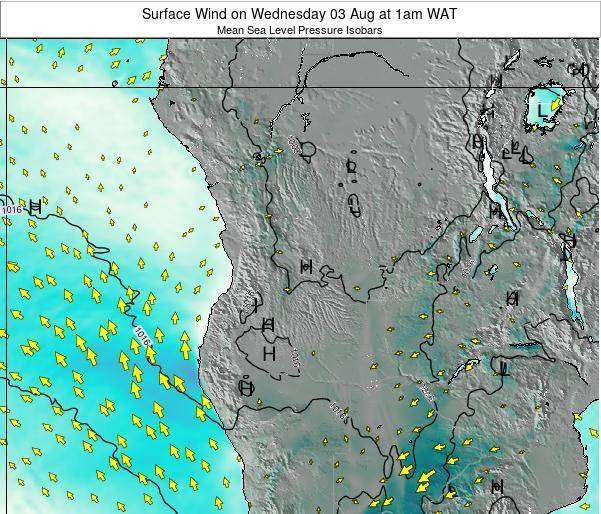 Angola Surface Wind on Monday 27 May at 1am WAT