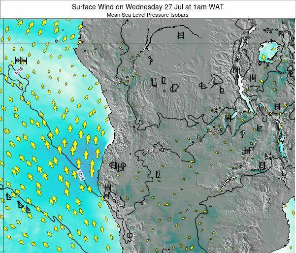 Angola Surface Wind on Friday 14 Mar at 1pm WAT
