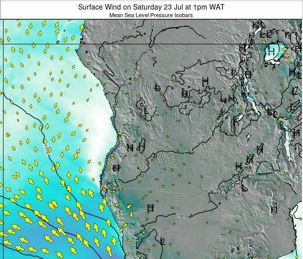 Angola Surface Wind on Wednesday 20 Dec at 1am WAT map