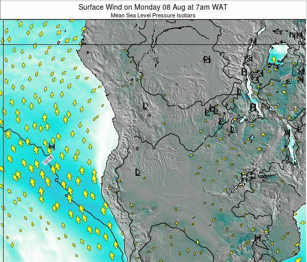 Angola Surface Wind on Thursday 31 Jul at 1am WAT
