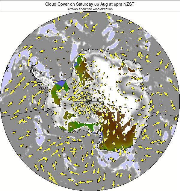 Antarctica Cloud Cover on Saturday 22 Sep at 6am NZST map