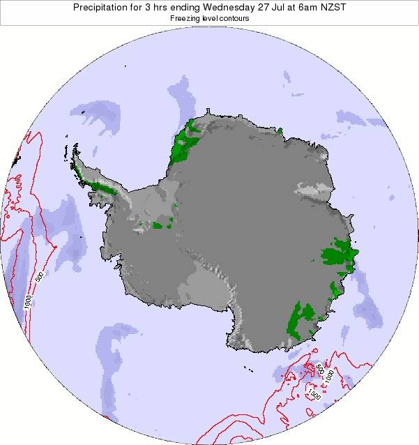 Antarctica Precipitation for 3 hrs ending Wednesday 29 May at 12pm NZST map