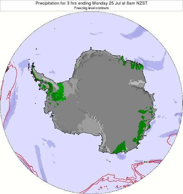 Antarctica Precipitation for 3 hrs ending Thursday 23 May at 6am NZST map