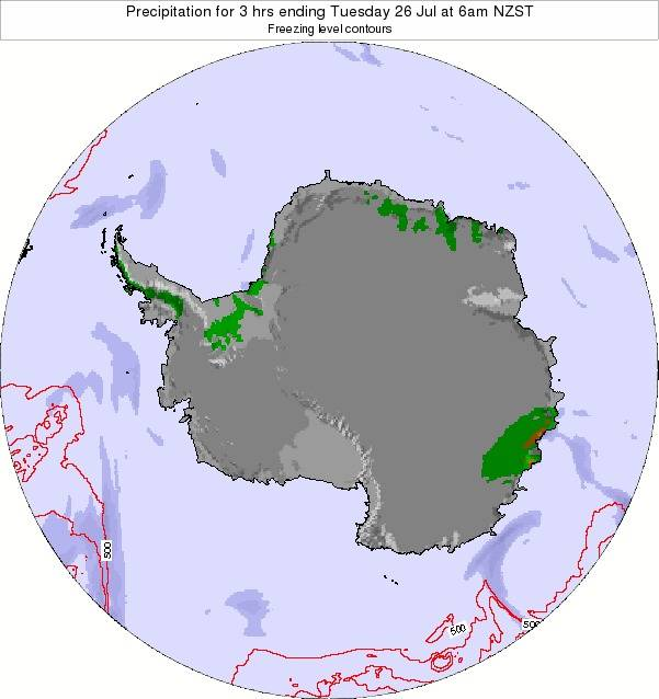 Antarctica Precipitation for 3 hrs ending Friday 18 Jan at 1pm NZDT map