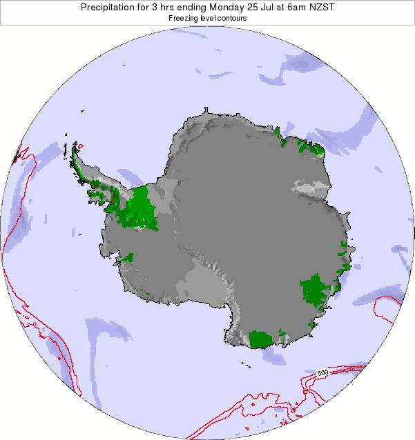 Antarctica Precipitation for 3 hrs ending Monday 27 May at 6pm NZST map