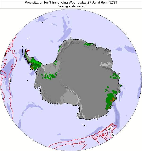 Antarctica Precipitation for 3 hrs ending Monday 27 May at 6am NZST map