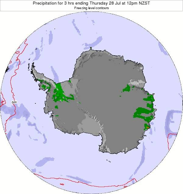 Antarctica Precipitation for 3 hrs ending Monday 27 May at 12pm NZST map