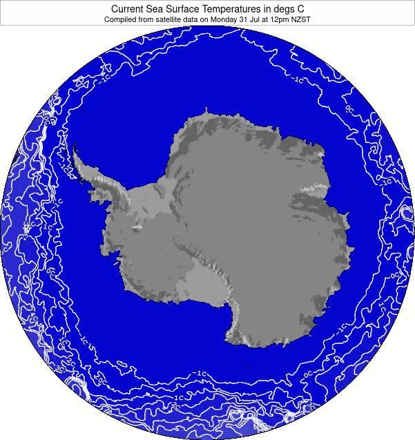 Antarctica Temperature della superficie del mare Mappa