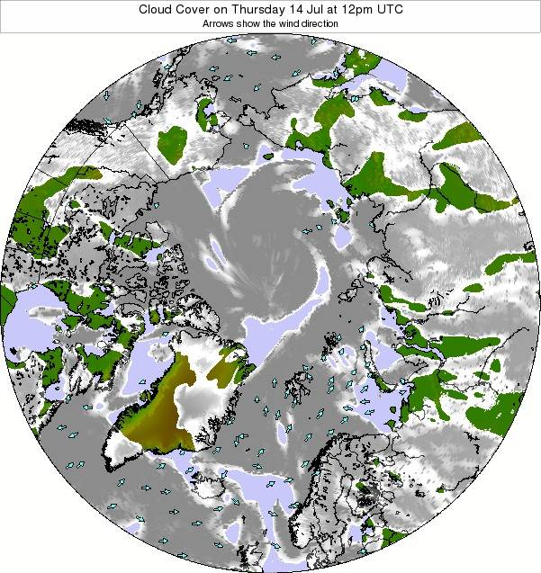 Arctic Cloud Cover on Friday 18 Jan at 12am UTC map