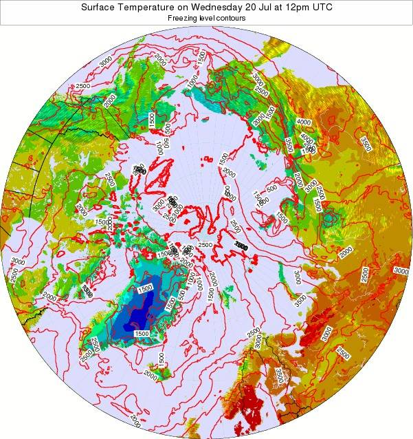 Arctic Surface Temperature on Tuesday 11 Dec at 12pm UTC map
