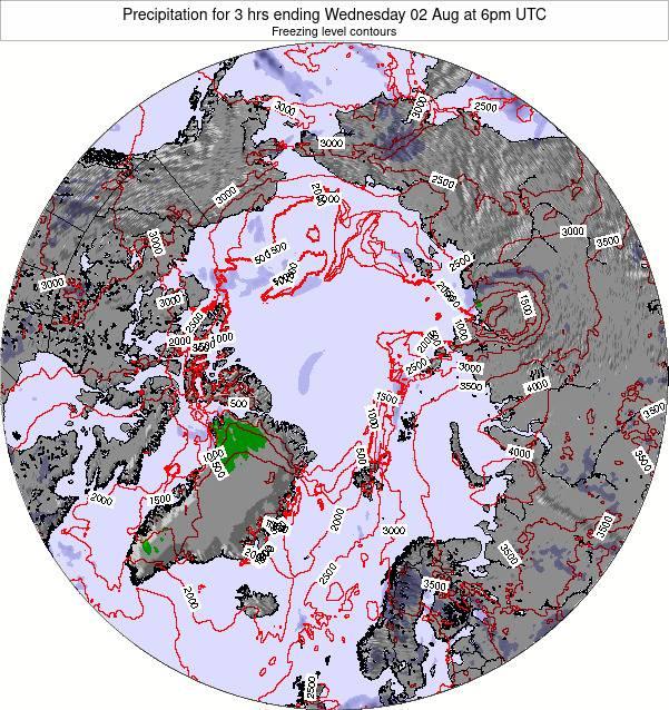 Arctic Precipitation for 3 hrs ending Sunday 20 Jan at 12am UTC map