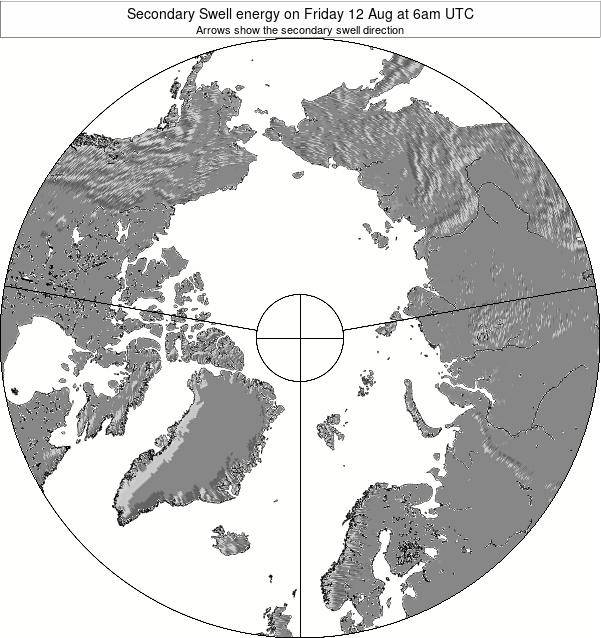 Arctic Secondary Swell energy on Wednesday 22 Aug at 12pm UTC map
