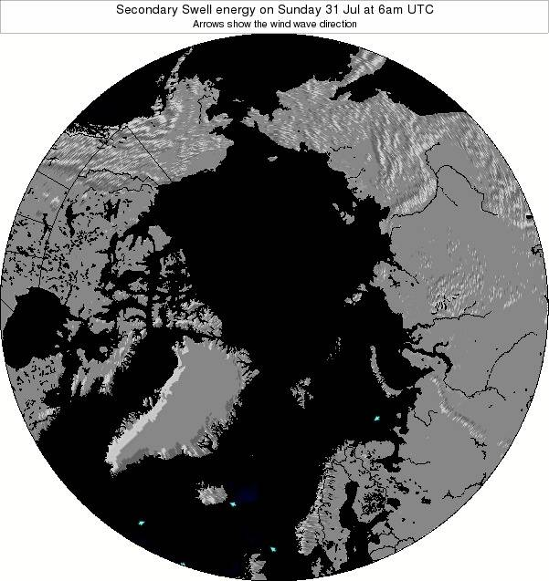 Arctic Secondary Swell energy on Wednesday 23 Jan at 6am UTC map