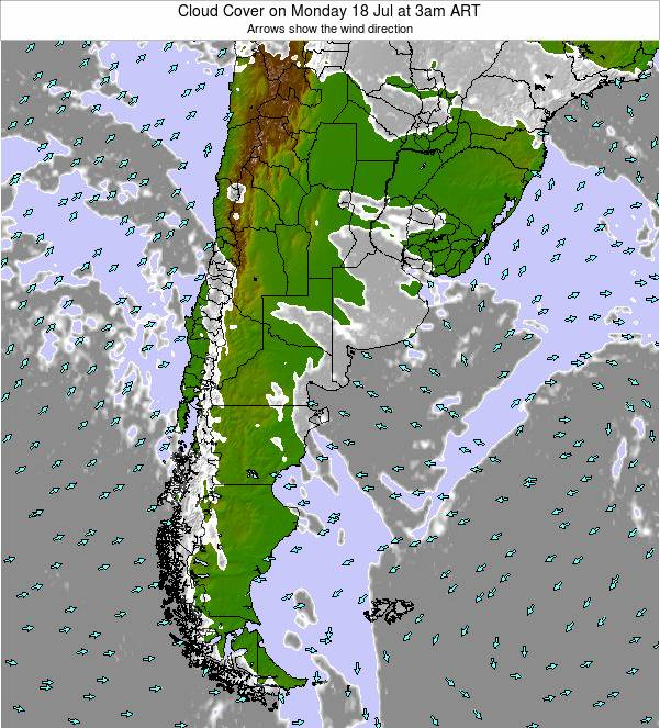 Uruguay Cloud Cover on Monday 28 Jul at 9am ART