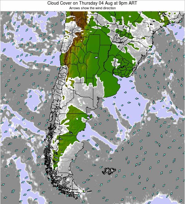 Argentina Cloud Cover on Tuesday 28 May at 9am ART