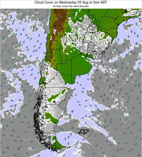 Uruguay Cloud Cover on Thursday 22 Mar at 9am ART map