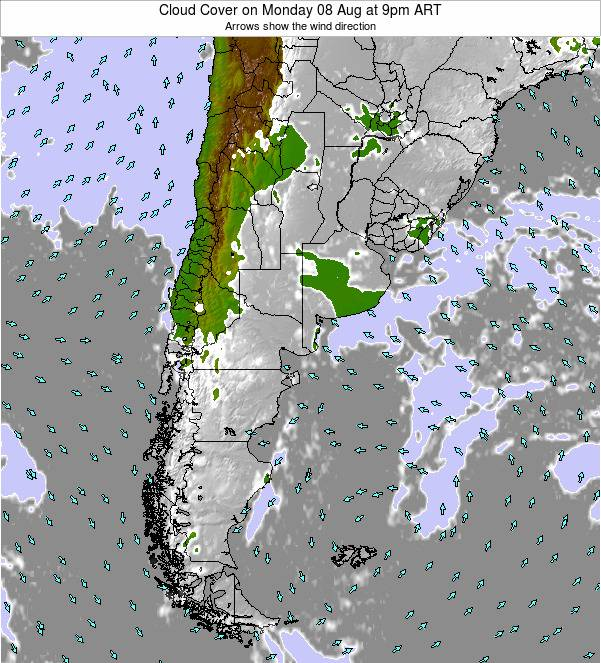 Uruguay Cloud Cover on Wednesday 12 Mar at 9am ART