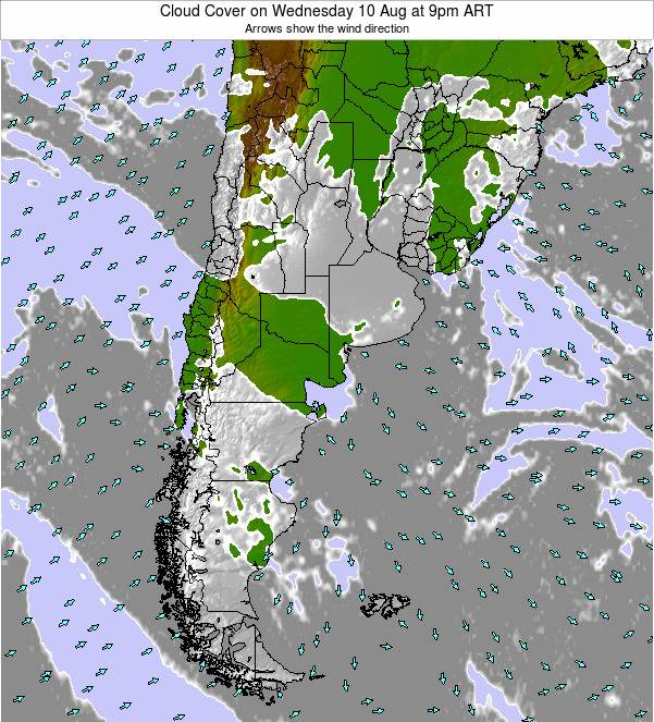 Uruguay Cloud Cover on Saturday 01 Oct at 9am ART
