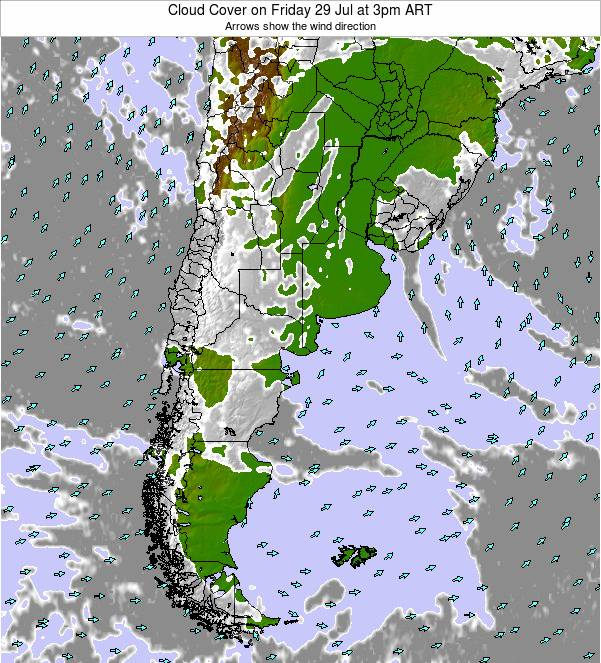 Uruguay Cloud Cover on Tuesday 10 Dec at 3pm ART