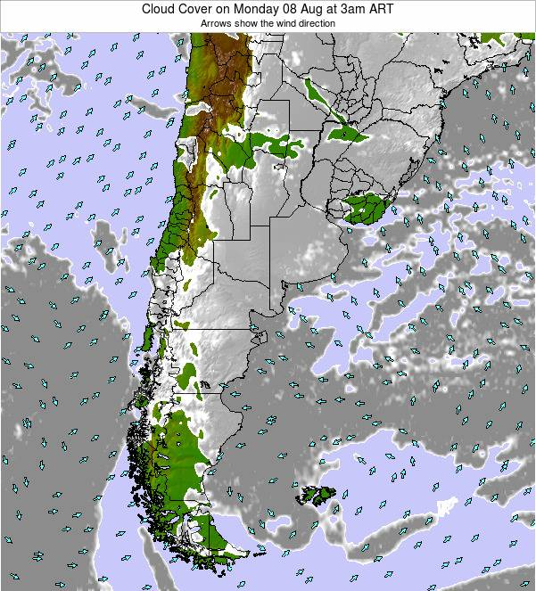 Uruguay Cloud Cover on Monday 21 Apr at 3am ART