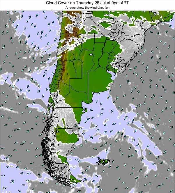 Uruguay Cloud Cover on Monday 04 Aug at 3pm ART