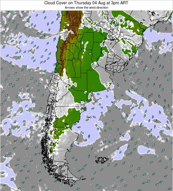 Uruguay Cloud Cover on Thursday 31 Jul at 9pm ART