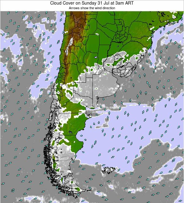Uruguay Cloud Cover on Wednesday 25 May at 3am ART