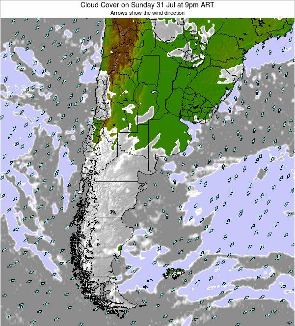 Uruguay Cloud Cover on Friday 18 Apr at 3am ART