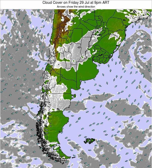 Uruguay Cloud Cover on Sunday 22 Jan at 3pm ART