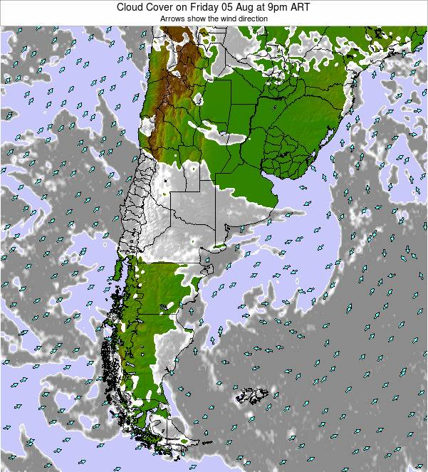Uruguay Cloud Cover on Wednesday 22 Feb at 3am ART