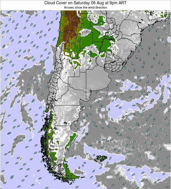Uruguay Cloud Cover on Sunday 09 Mar at 9pm ART